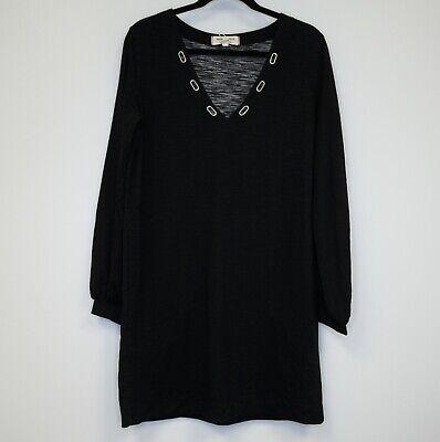 Winter Weekend Dresses (Max Studio Weekend Womens Dress V Neck Shift Soft Lounge Dress Black Heather)