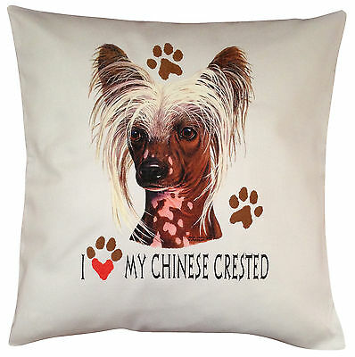 Chinese Crested Heart Breed of Dog Cotton Cushion Cover - Perfect Gift