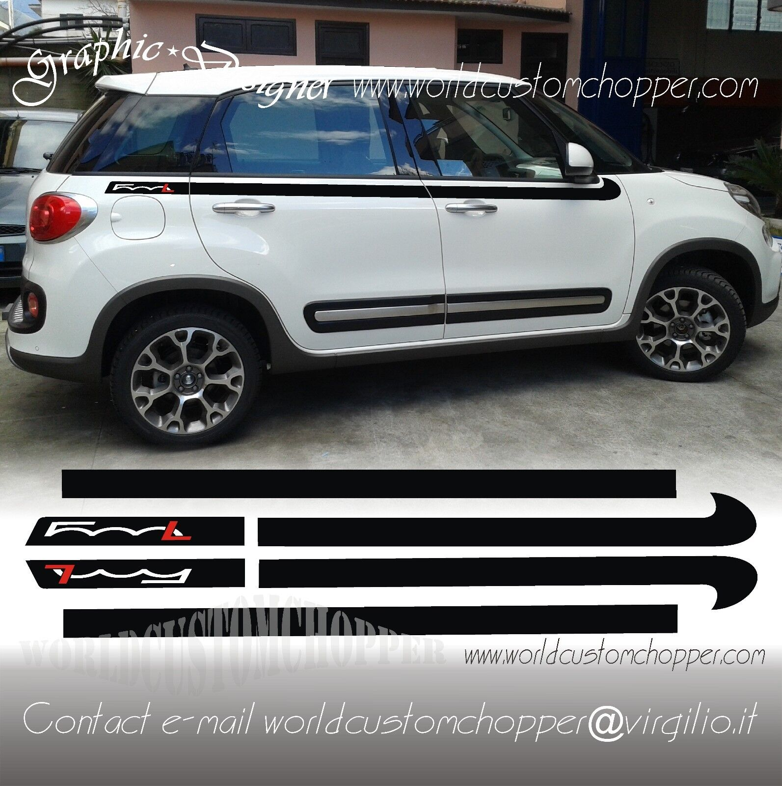 Details About Set Bands Adhesive Decal Stickers Bands Upper Fiat 500 L Car Tuning Sport