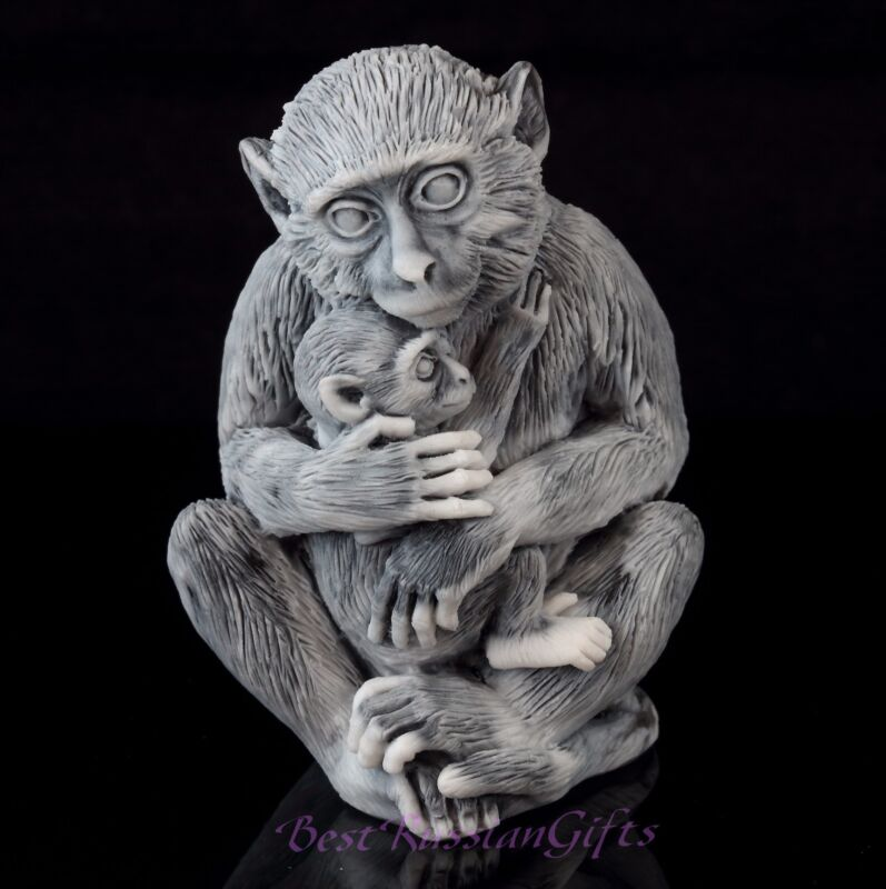 """Macaque with Baby Marble Stone Figurine Monkey Sculpture Russian Art Statue 3"""""""