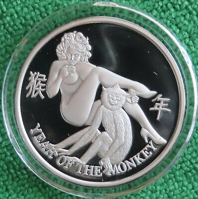 Year of the Monkey Chinese New Year / Asian Zodiac .999 Nude Silver Proof Coin Chinese Zodiac Year Monkey