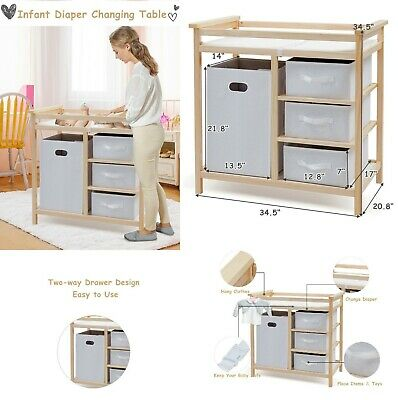 Changing Table Dresser Baby Changing Pad Infant Nursery Furniture Basket Set New