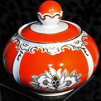 Red White And Gold Centerpieces (VTG SPECHTSBRUNN LPG HANDGEMALT HANDPAINTED RED GOLD WHITE CENTERPIECE BOWL )