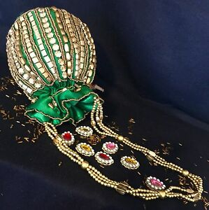 Designer Green Silk Potli Clutch Drawstring Dolly Bag-Indian Wedding Accessory