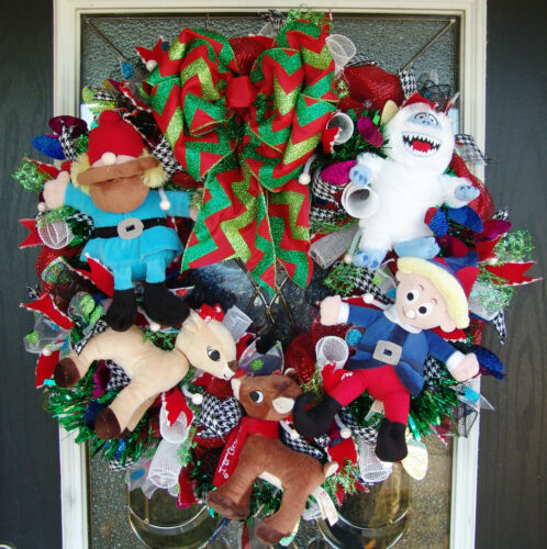 Rudolph The Red Nosed Reindeer Misfit Toys Deco Mesh Front Door Wreath Christmas