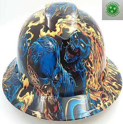 Hard Hat FULL BRIM custom hydro dipped , OSHA approved ICE SKULL BATTLE ROYAL