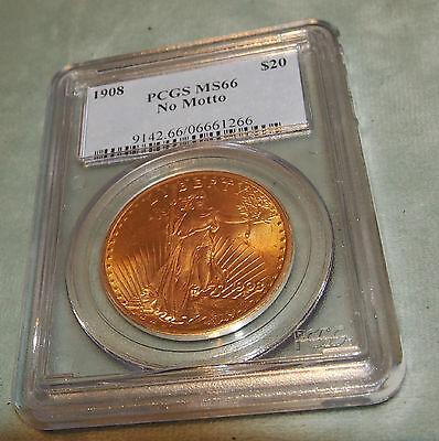 NO MOTTO MS66  C 1908 PCGS $20.00 GOLD SAINT GAUDENS -NO: 9142.66/06661266