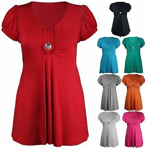 Womens-Brooch-Button-Trim-Short-Sleeve-Scoop-Neck-Ladies-Plus-Size-T-shirt-Top