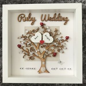 Personalised handmade ruby 40th Wedding Anniversary family tree box gift frame