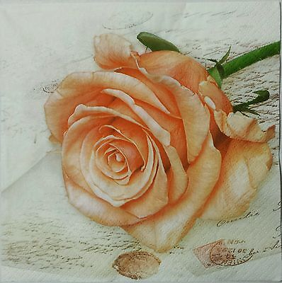 ROSE PEACH POSTCARD TWO(2) single LUNCH SIZE paper napkins for decoupage 3-ply