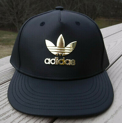 NWT ADIDAS M Metal Trefoil Plus Mens Snapback Adj Hat-OSFM @$30 BLACK/GOLD Logo