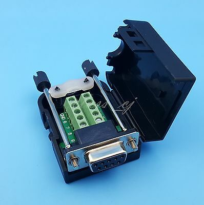 D-sub Db9 Female 9pin Black Cover Screw Type Breakout Terminals Connector