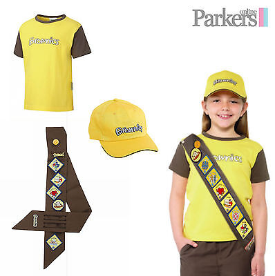 (OFFICIAL BRAND NEW GIRLS BROWNIES SET SHORT SLEEVE T-SHIRT TOP HAT CAP SASH S4)