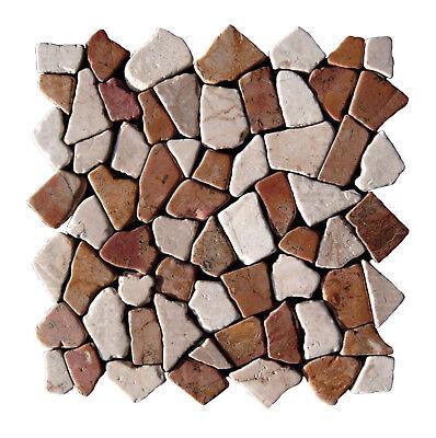 1 Matte Marmor Rot Weiß M-004 Bruchmosaik Wand Boden Mosaik-Fliesen Topseller - Rot Bodenfliesen
