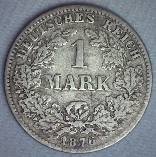 1876 C Germany Silver 1 Mark Coin Very Fine Circulated German Wilhelm I Coin