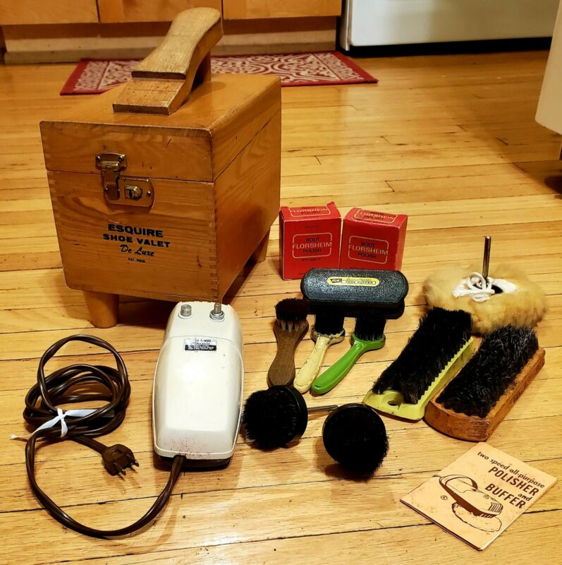 Vintage Esquire Shoe Valet De Luxe Shoe Shine Box With Accessories