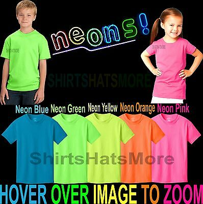 Youth Cotton Blend NEON T-Shirt Child Kids Boys Girls Sizes XS, S, M, L, XL NEW