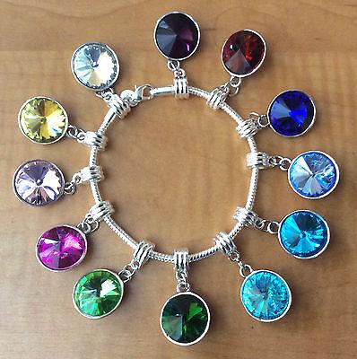 (Birthstone Crystal Dangling Silver Pendant Bead Charm Bangle Bracelet Gift Box)