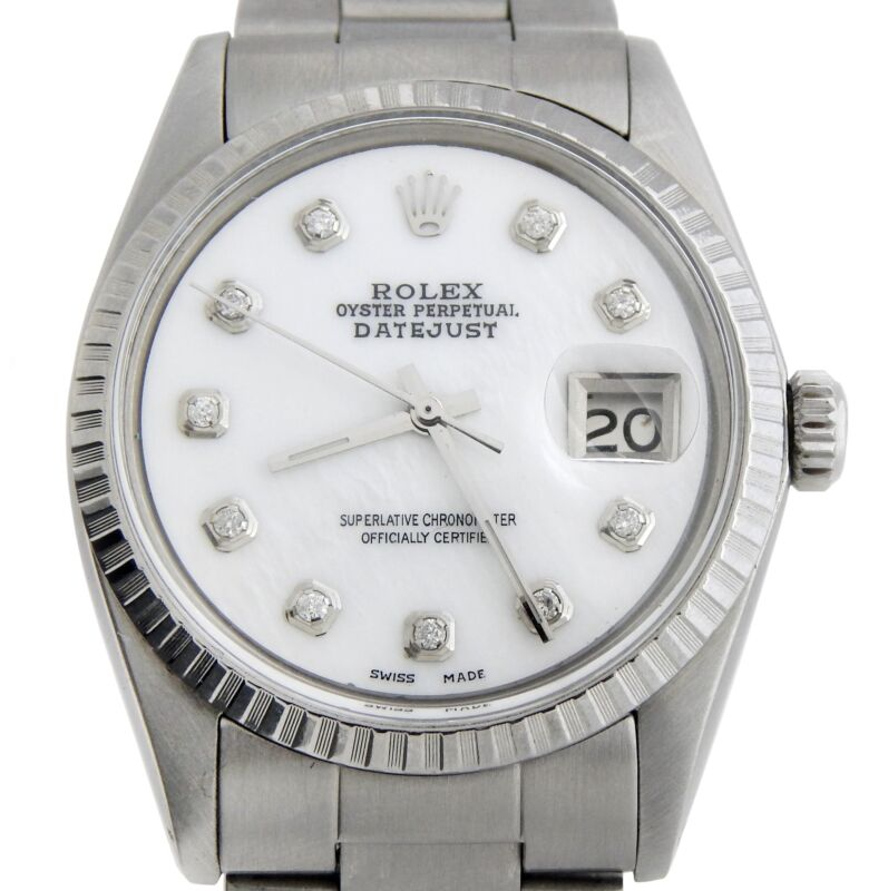 Rolex Datejust Mens Stainless Steel Watch White Mop Diamond Dial Oyster 1603