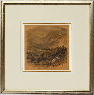 Holzschnitt von W. Bool Hornberg im Schwarzwald 19. Jh. 36 x 36 cm
