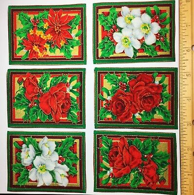 CHRISTMAS FLOWERS Fabric 25 Appliques Poinsettia Roses Holly Woodrow UK RARE OOP