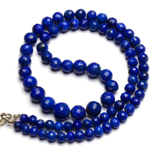 """Natural Gem Afghan Lapis Lazuli Faceted 5 to 9MM Size Round Beads Necklace 18.5"""""""