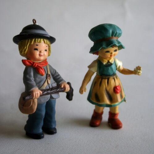 "Two Cute, Colorful 3 1/4"" Figurines of a Swiss or Swedish Type Little Boy & Girl"