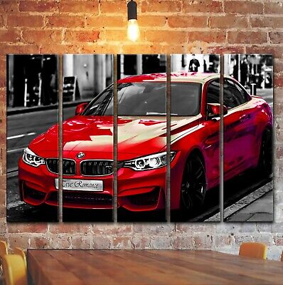 Red 5 Panels (Red BMW M4 Wall Art Picture Painting, BMW Print Poster On 5 Canvas Panels Pieces)