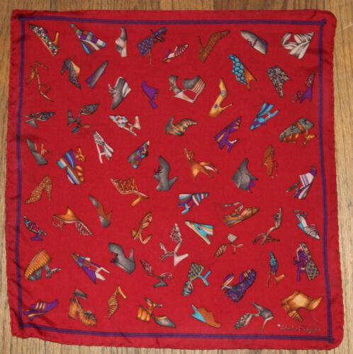 Salvatore Ferragamo vintage shoe print illustrated bandana scarf silk