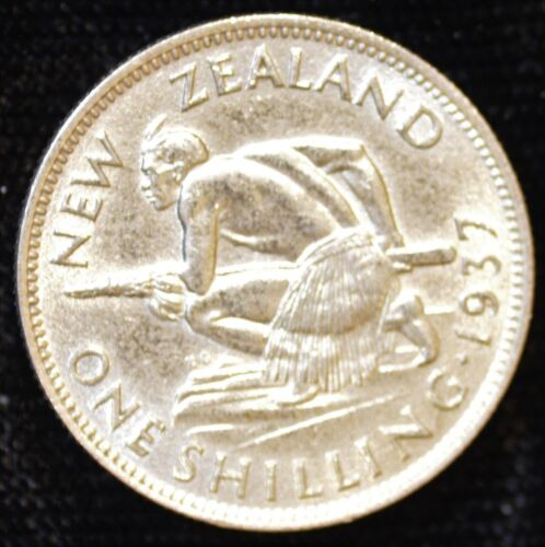 1937 New Zealand AU One Shilling - FREE SHIPPING!