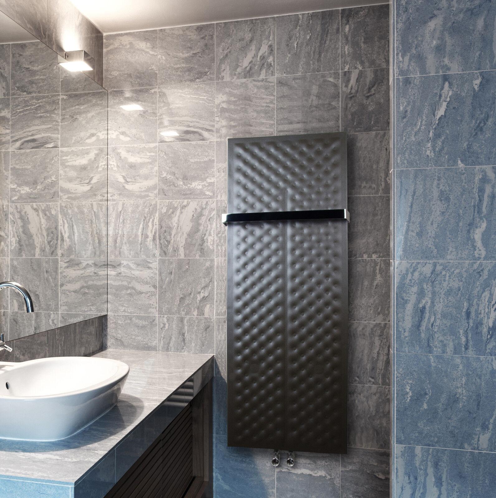 450mm Wide 1200mm High Black Designer Heated Towel Rail Radiator Modern Bathroom Ebay