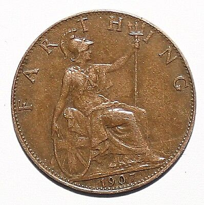 Farthing Coin King Edward VII 1907 Quality High Grade Desirable Collectors Coin