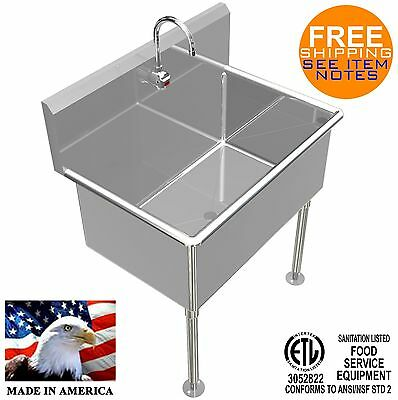 Washing Hand Sink 36x24x15deep Big Tub Heavy Duty Stainless Steel Elec Faucet