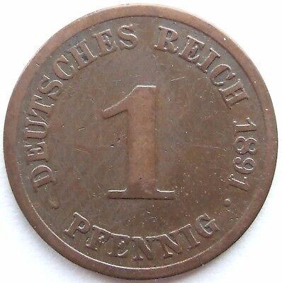 TOP! 1 Pf 1891 J in SCHÖN / SEHR SCHÖN SELTEN !!!