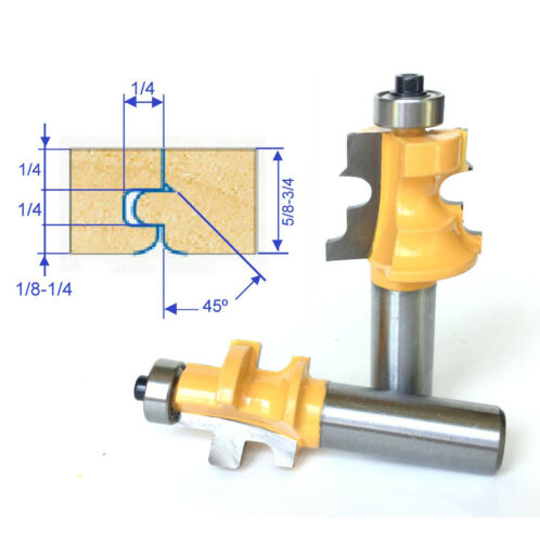 """2 pc 1/2"""" shank Wood 5/8""""-3/4"""" Floor with Nail Slot Router Bit Set sct-888"""