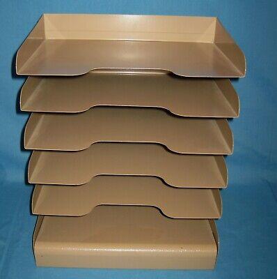 Vtg Metal Document Organizer Desktop Rack Letter Holder Tan Desk File Sorter