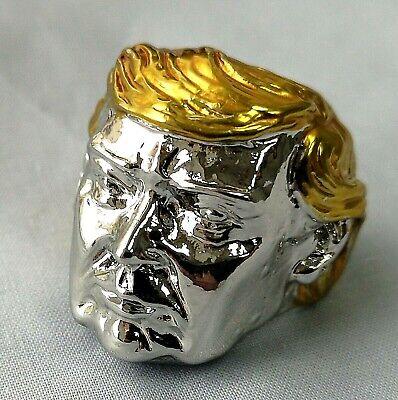 Silver Donald Trump Face Ring Gold President 2020 MAGA U C Americana Old Man USA