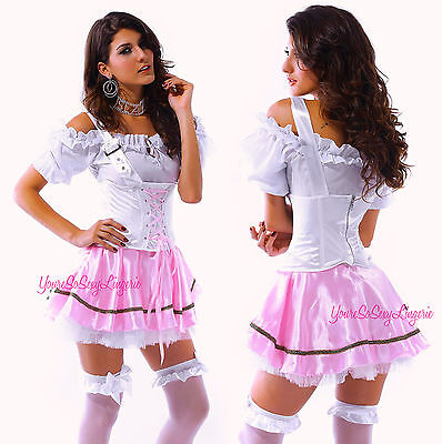 Sexy Beer Girl OKTOBERFEST Costume Barvarian MAIDEN COSPLAY Pink Halloween SML](Beer Halloween Costumes)