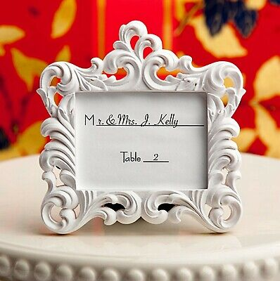 White Baroque Photo Frame Place Card Holder Romantic Wedding Party Favor MW70028](Wedding Placecards)