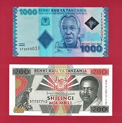 Tanzania UNC Banknotes: 200 Shilings 1993 (P-25b), & 1000 Shillings 2015 (P-41b)