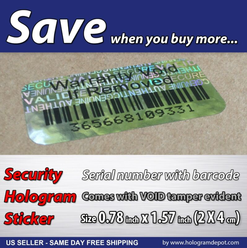 100 Security Hologram Stickers Void BAR-CODE Serial Numbers Void Tamper Evident