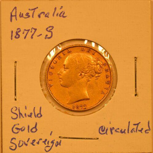 1877-S Australia Victoria Shield Gold Sovereign