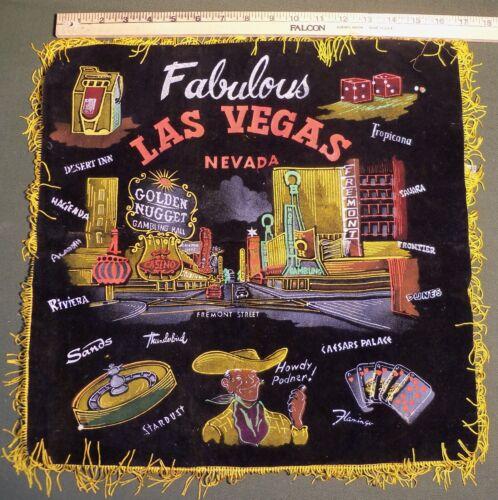 "Vintage Las Vegas Sham Souvenir Approx 17"" x 17"" Casino Pillowcase Nevada Black"