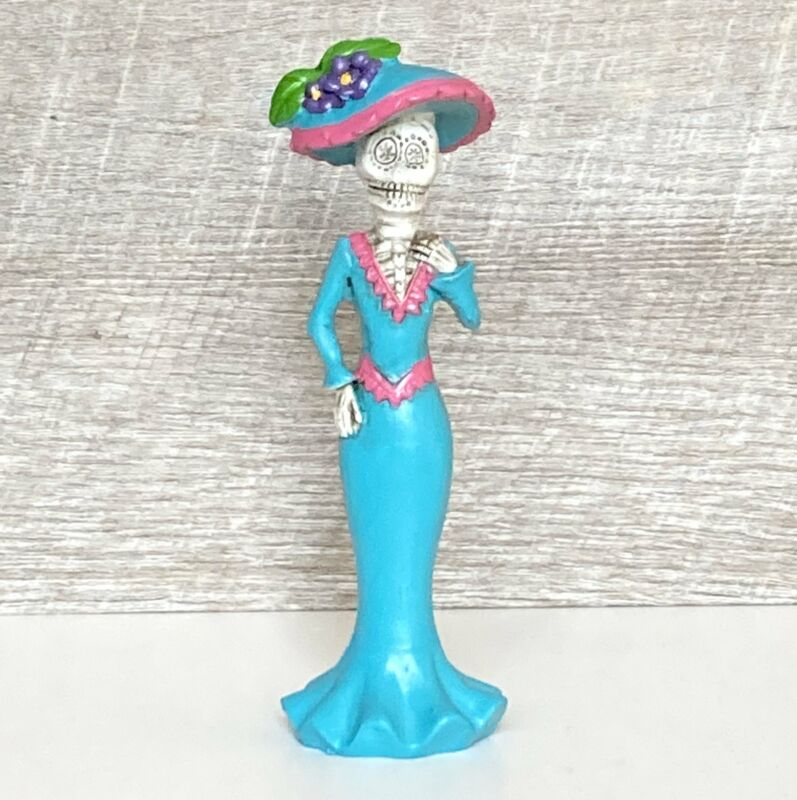 Day of the Dead Lady Figurines Collectible Mariachi Decor Aqua Dress