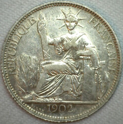 1902 A French Indo China 20 Cent .835 Silver Coin KM #10 AU Almost UNC K203