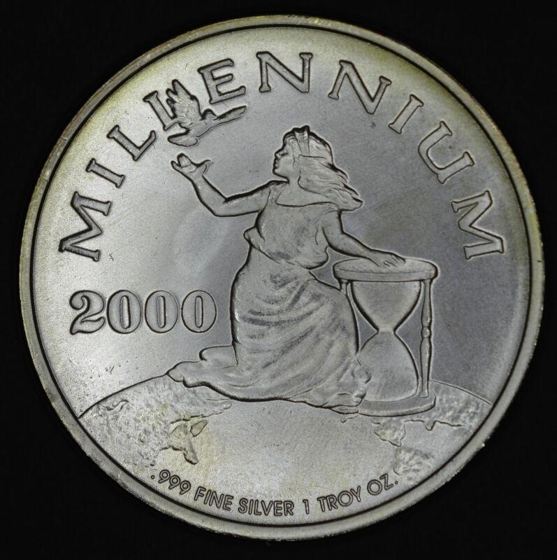 Liberia 20 Dollars 2000 CH BU silver KM#509.1 $20 Millenium .999 Rare COA