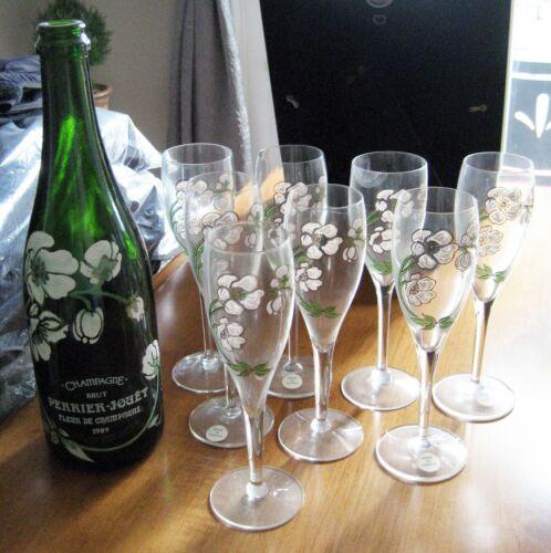 PERRIER JOUET Champagne Flutes (8) Handpainted Anemone Belle Époque & Bottle