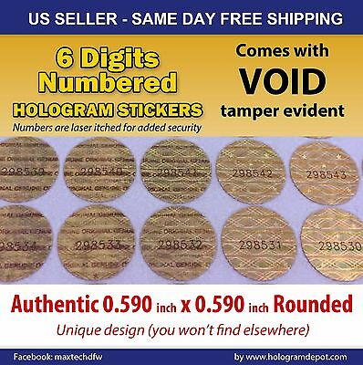 200 Round Hologram Warranty Void Security Labels Stickers Seals 6 Digits Number