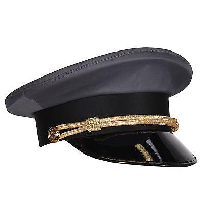 Chauffeur-Mütze grau mit Kordel & Lackschirm Gr. 57, 59 oder 61 Schirmmütze