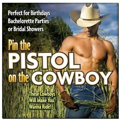 Pin the Pistol on the Cowboy - Bachelorette Party Wedding Bridal Shower Game - Bachelorette Pins